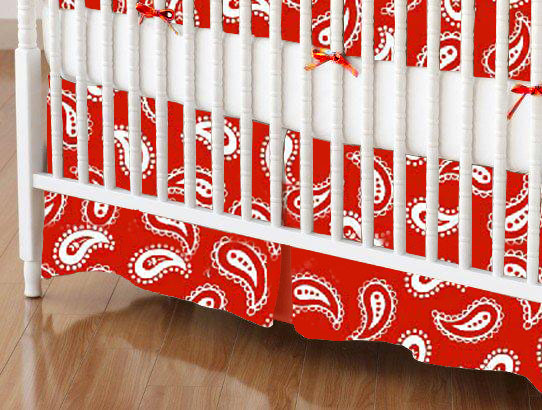 Mini Crib Skirt - Primary Paisley White On Red Woven