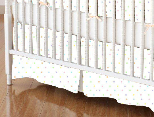 Crib Skirts - Crib Skirt - Pastel Colorful Pindots Woven - Tailored - 100% Cotton Woven - Pastel Polka Dots Crib Skirts