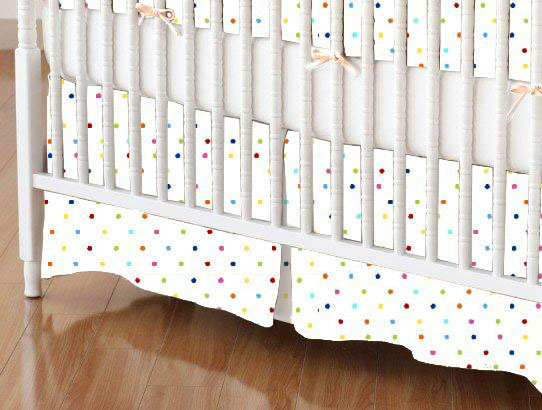 Mini Crib Skirt - Primary Colorful Pindots Woven