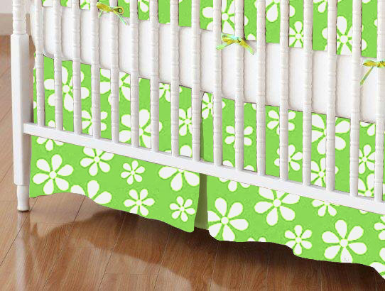 Mini Crib Skirt - Primary Green Floral Woven