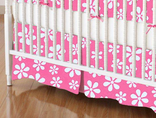Mini Crib Skirts - Mini Crib Skirt - Primary Pink Floral Woven - Tailored - 100% Cotton Woven - Primary Florals Mini Crib Skirts