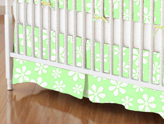 Mini Crib Skirt - Pastel Green Floral Woven