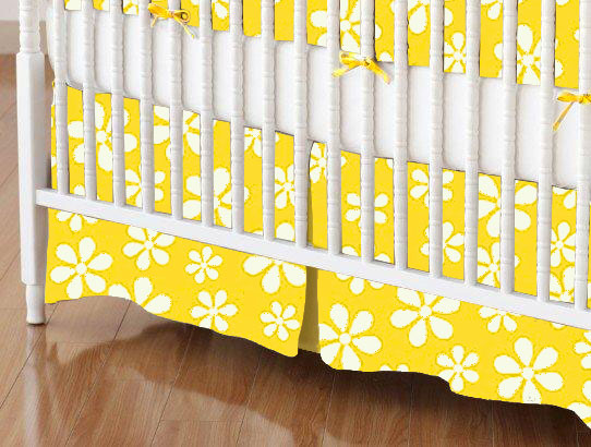 Mini Crib Skirt - Primary Yellow Floral Woven