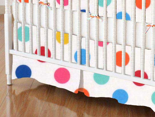 Crib Skirt - Primary Colorful Polka Dots Woven