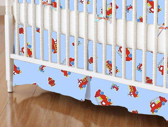 Crib Skirt - Fire Engines Blue