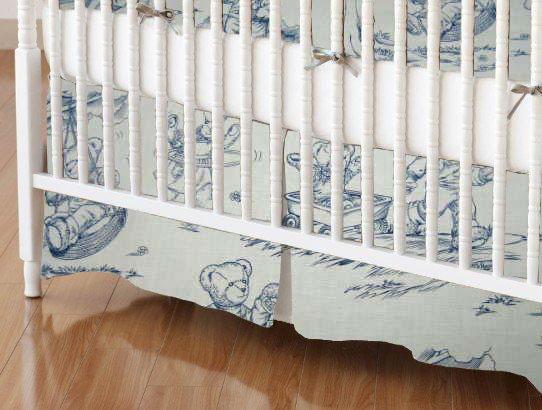Crib Skirt - Blue Teddy Toile