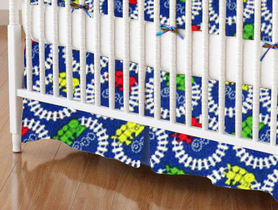 Crib Skirt - Train Tracks