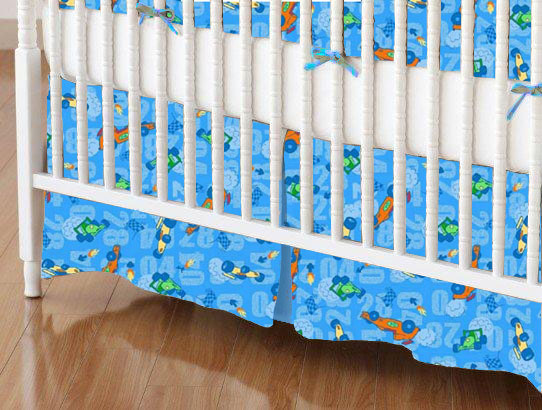 Crib Skirt - Race Cars Blue