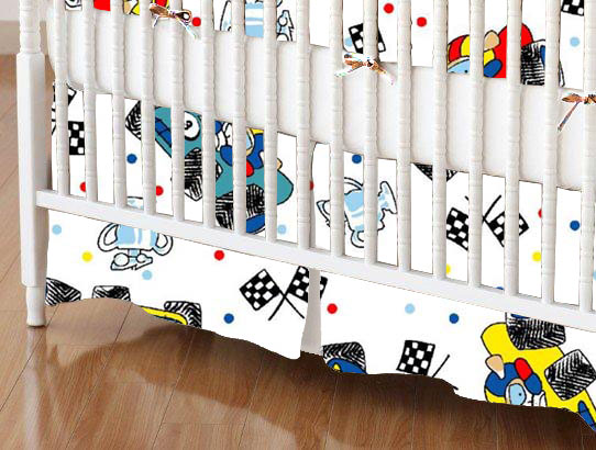 Crib Skirt - Fun Race Cars