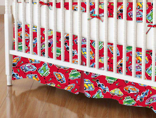 Crib Skirt - Race Cars Red