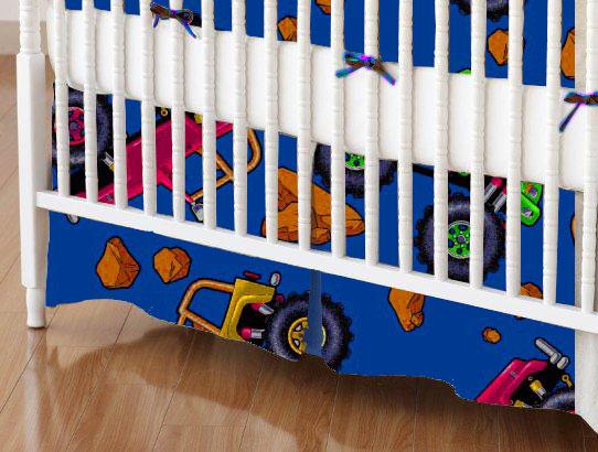 Mini Crib Skirts - Mini Crib Skirt - Monster Trucks Blue - Tailored - 100% Cotton Percale - Baby Transport Mini Crib Skirts