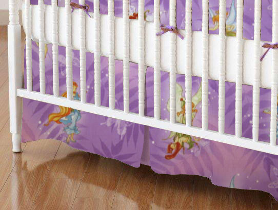 Crib Skirt - Fairies & Butterflies Purple