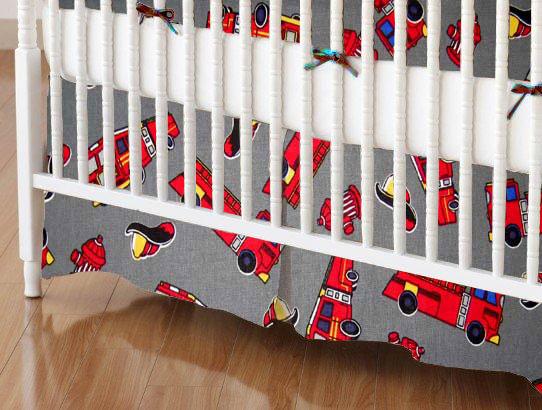 Mini Crib Skirts - Mini Crib Skirt - Fire Engines Grey - Tailored - 100% Cotton Percale - Baby Transport Mini Crib Skirts