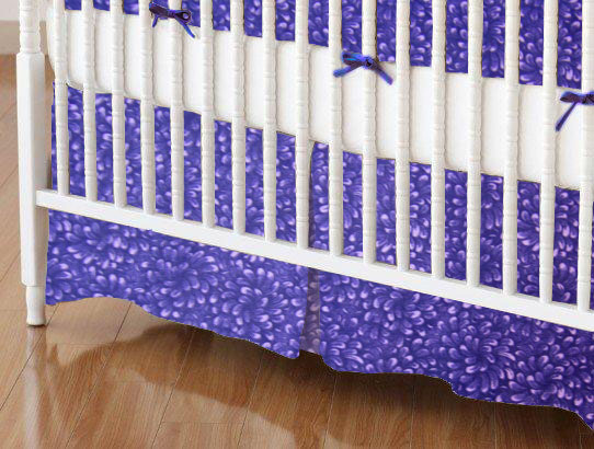 Crib Skirt - Purple Petals
