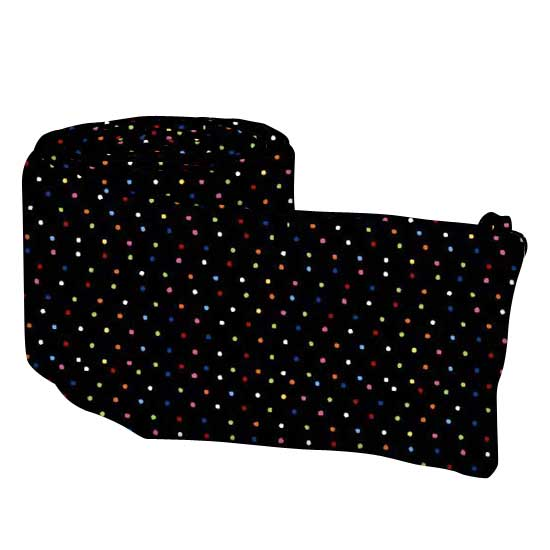 Primary Colorful Pindots Black Woven