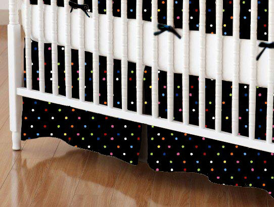 Mini Crib Skirt - Primary Colorful Pindots Black Woven