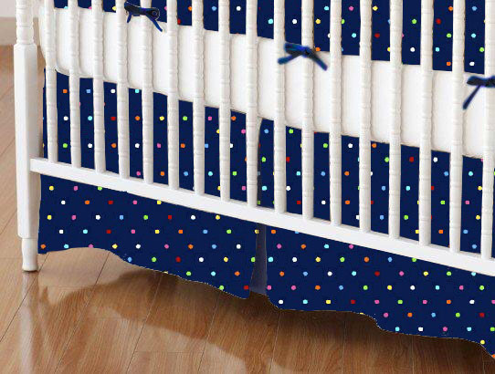 Crib Skirt - Primary Colorful Pindots Navy Woven