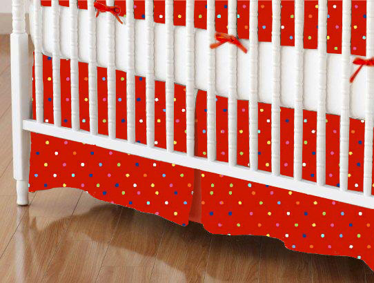 Mini Crib Skirt - Primary Colorful Pindots Red Woven