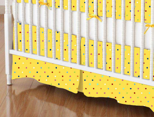 Crib Skirt - Primary Colorful Pindots Yellow Woven