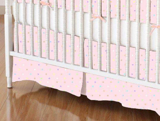 Mini Crib Skirt - Pastel Colorful Pindots Pink Woven