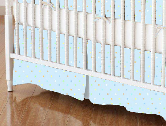 Crib Skirt - Pastel Colorful Pindots Blue Woven