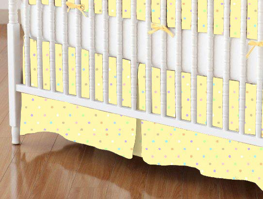 Crib Skirts - Crib Skirt - Pastel Colorful Pindots Yellow Woven - Tailored - 100% Cotton Woven - Pastel Polka Dots Crib Skirts