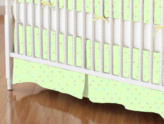 Mini Crib Skirt - Pastel Colorful Pindots Mint Woven