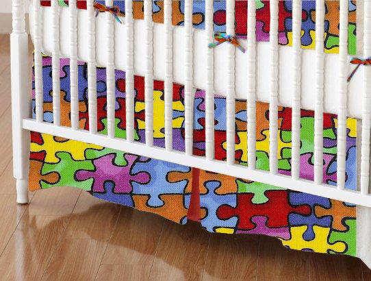 Mini Crib Skirts - Mini Crib Skirt - Primary Puzzle - Tailored - 100% Cotton Woven - Primary Florals Mini Crib Skirts