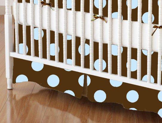 Mini Crib Skirts - Mini Crib Skirt - Blue Polka Dots Brown Woven - Tailored - 100% Cotton Woven - Primary Polka Dots Mini Crib Skirts