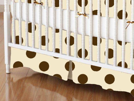 Mini Crib Skirt - Brown Polka Dots Cream Woven