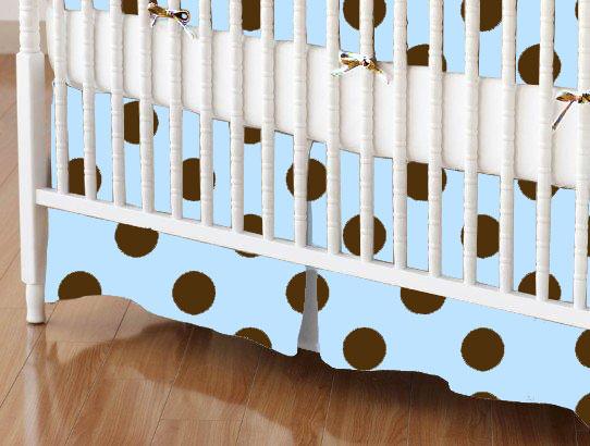 Mini Crib Skirts - Mini Crib Skirt - Brown Polka Dots Blue Woven - Tailored - 100% Cotton Woven - Primary Polka Dots Mini Crib Skirts