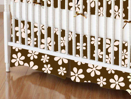 Mini Crib Skirts - Mini Crib Skirt - Pink Floral Brown Woven - Tailored - 100% Cotton Woven - Primary Florals Mini Crib Skirts