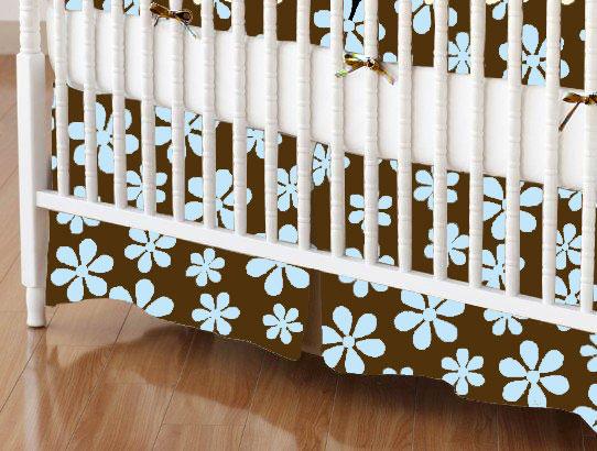Mini Crib Skirts - Mini Crib Skirt - Blue Floral Brown Woven - Tailored - 100% Cotton Woven - Primary Florals Mini Crib Skirts