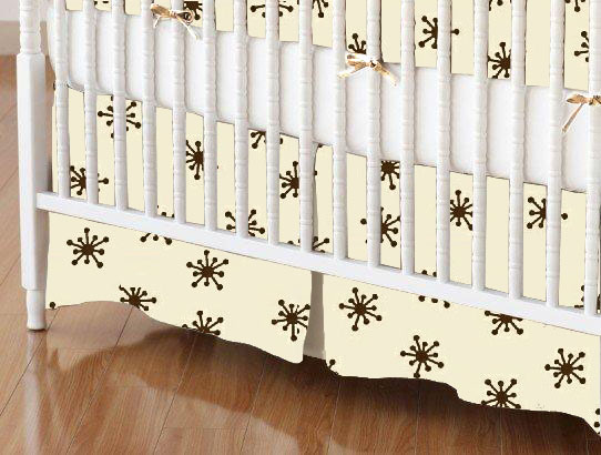 Mini Crib Skirts - Mini Crib Skirt - Brown Snowflake Cream Woven - Tailored - 100% Cotton Woven - Primary Florals Mini Crib Skirts