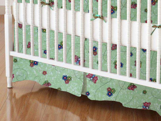 Crib Skirt - Green Butterfly Daisy