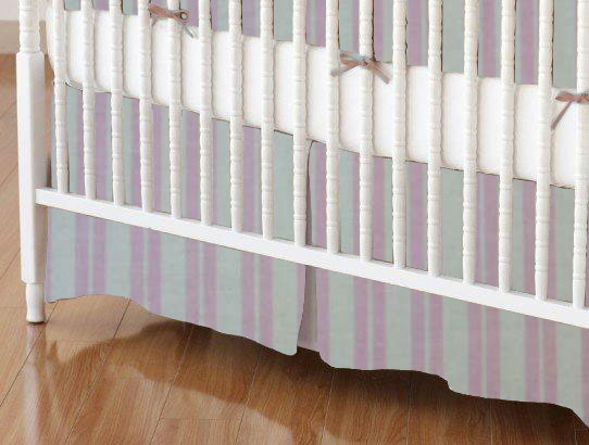 Crib Skirt - Pink Dual Stripe