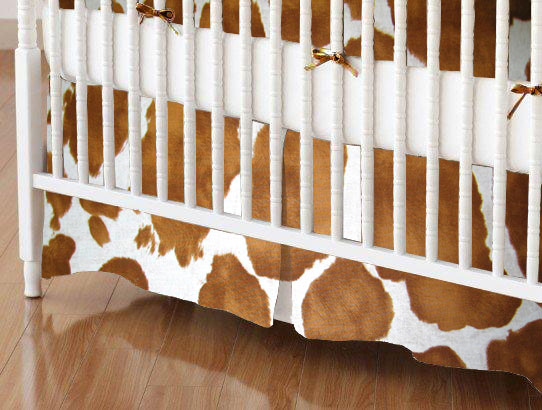 Crib Skirt - Brown Cow