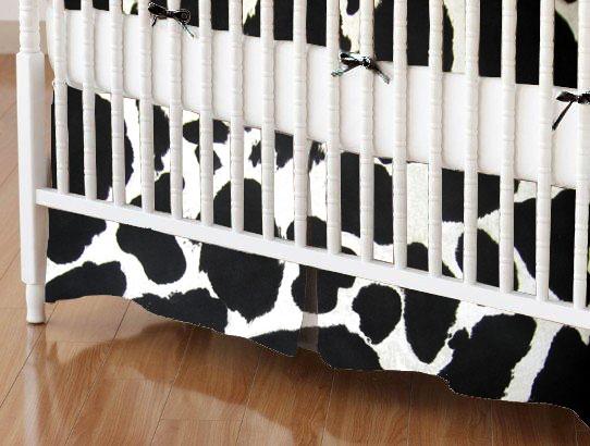 Crib Skirt - Black Cow