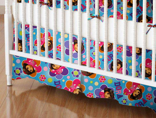 Mini Crib Skirts - Mini Crib Skirt - Dora Blue Flower - Tailored - 100% Cotton Percale - Character Prints - Kid Characters Mini Crib Skirts