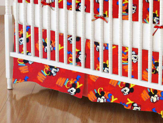 Mini Crib Skirts - Mini Crib Skirt - Mickey Mouse Red - Tailored - 100% Cotton Percale - Character Prints - Kid Characters Mini Crib Skirts