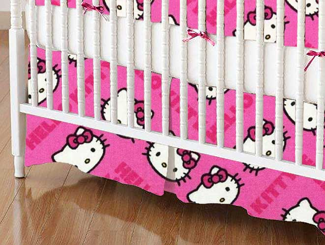 Mini Crib Skirts - Mini Crib Skirt - Hello Kitty Pink - Tailored - 100% Cotton Percale - Character Prints - Kid Characters Mini Crib Skirts
