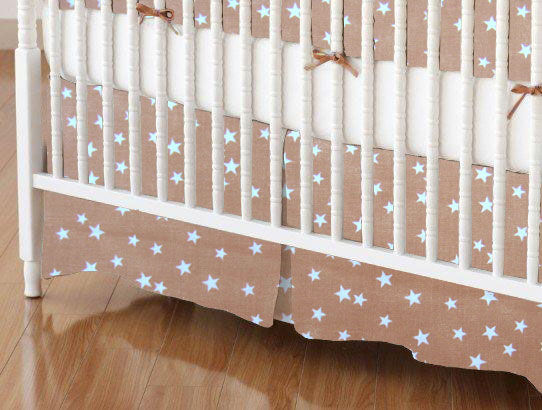 Crib Skirt - Cloudy Stars Camel