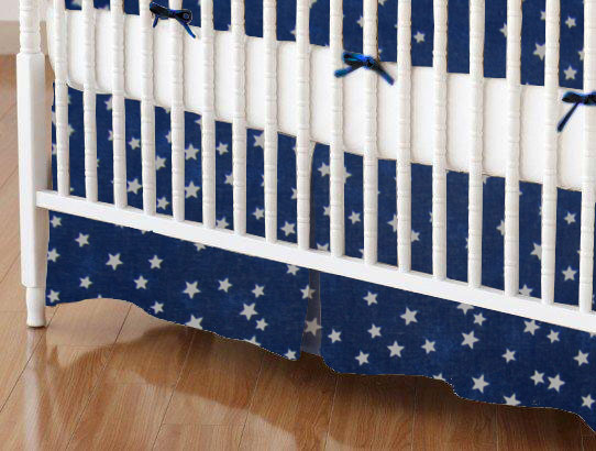 Crib Skirt - Cloudy Stars Navy