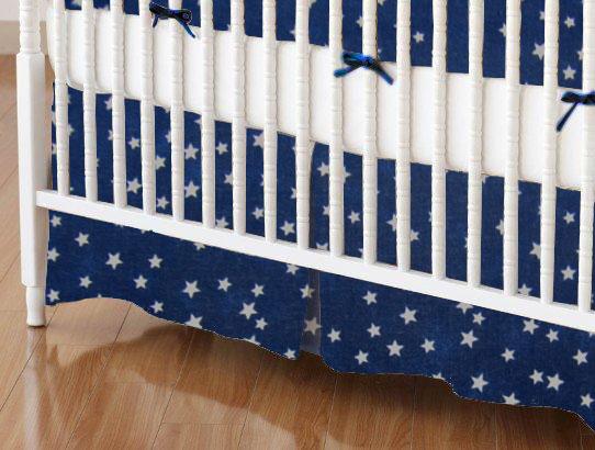 Crib Skirt - Cloudy Stars Navy