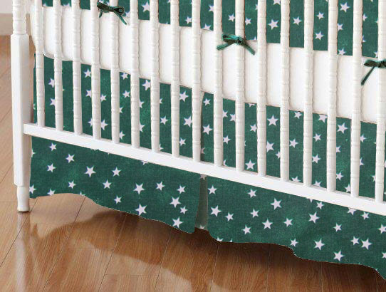 Crib Skirt - Cloudy Stars Hunter Green