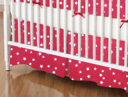 Crib Skirt - Cloudy Stars Red