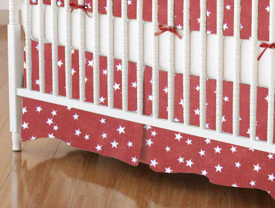 Mini Crib Skirt - Cloudy Stars Rust