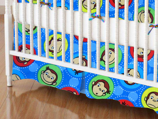 Mini Crib Skirts - Mini Crib Skirt - Curious George Blue - Tailored - 100% Cotton Percale - Character Prints - Kid Characters Mini Crib Skirts
