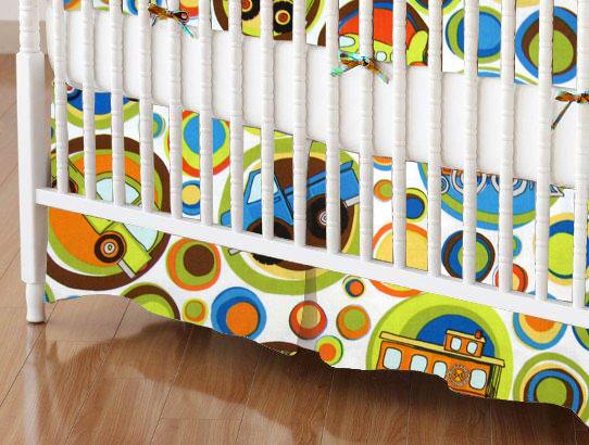 Mini Crib Skirts - Mini Crib Skirt - Transportation Bubbles - Tailored - 100% Cotton Percale - Baby Transport Mini Crib Skirts