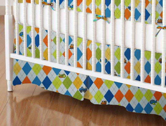Crib Skirt - Argyle Blue Transport